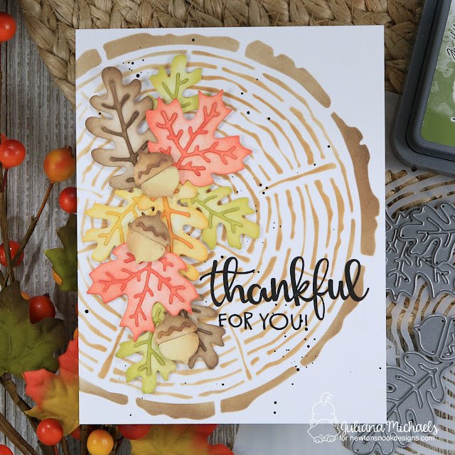 Thankful For You Card by Juliana Michaels featuring Newton's Nook Designs Thankful Thoughts Stamp Set, Tree Rings Stencil and Autumn Leaves Die Set