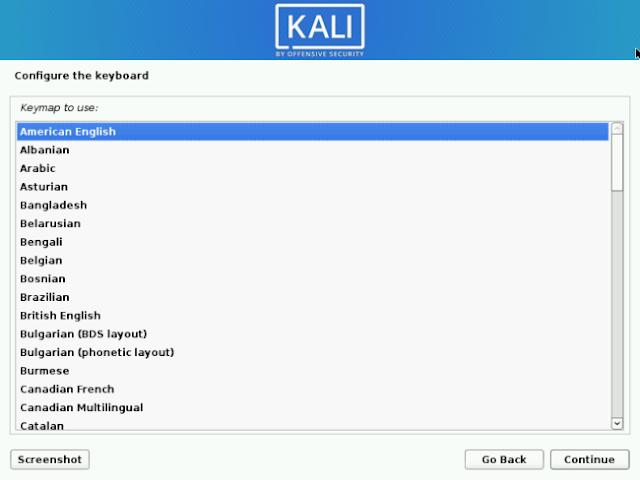 Pilih Keymap Kali Linux