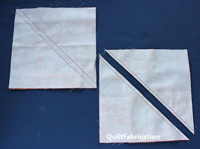 squares sewn on the diagonal for HST's
