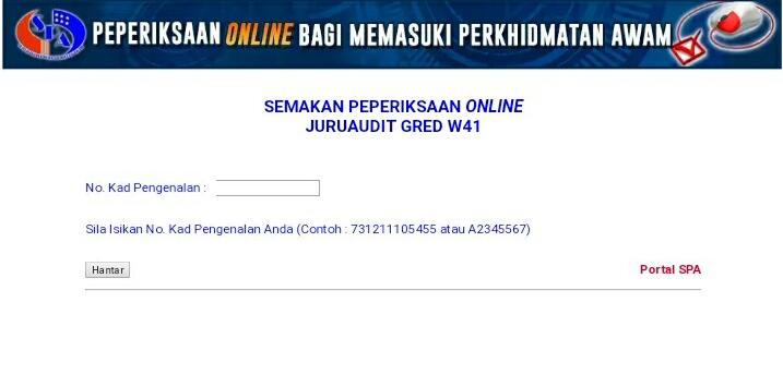 Semakan Peperiksaan Online Juruaudit Gred W41 2020 Spa