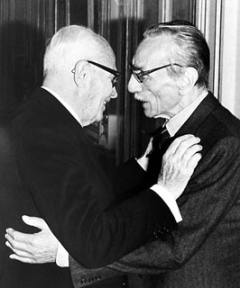 De Filippo (right) with the Italian president, Sandro Pertini. De Filippo was made a life senator
