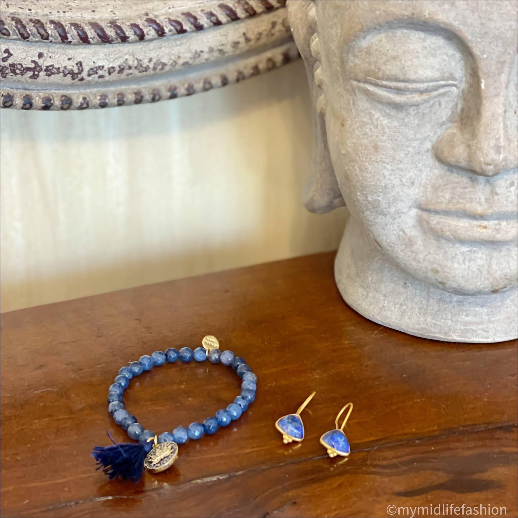 my midlife fashion, ashiana maple beaded bracelet in navy, ashiana Lola earrings in lapis lazuli