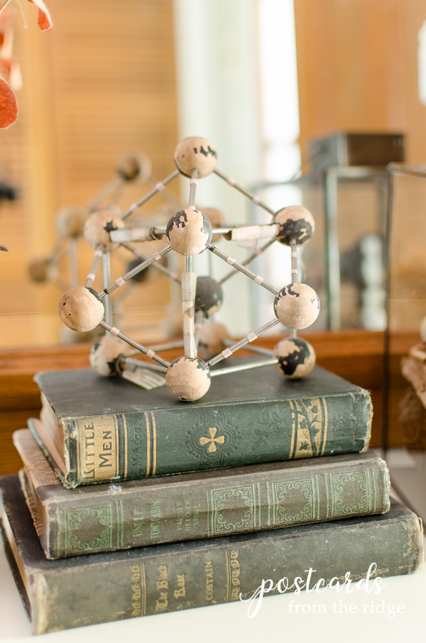 old books and vintage atom for fall decor