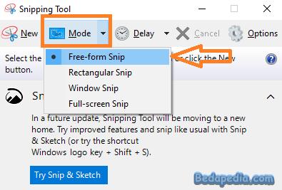 memilih mode snipping tool untuk screenshot di pc laptop