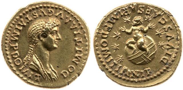áureo de Domicia con su hijo sobre globo rodeado por siete estrallas