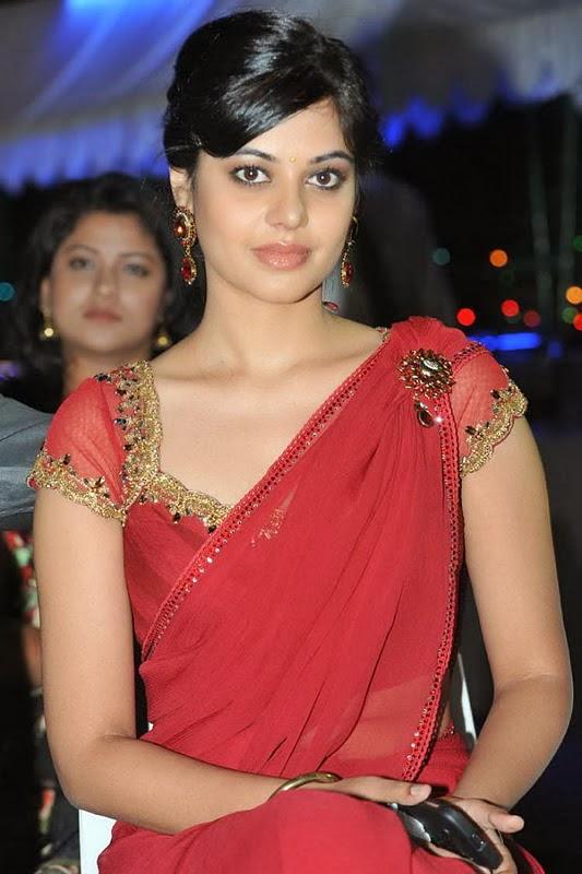 Bindu Madhavi Beautiful Hair Style Stills In Red Saree At Movie Success Meet