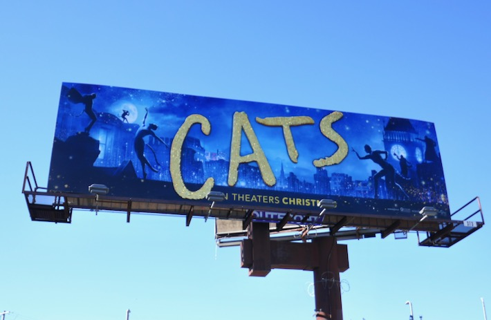 Cats movie sequin logo billboard