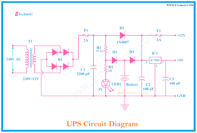 Circuit Diagram of UPS, UPS circuit diagram for home made
