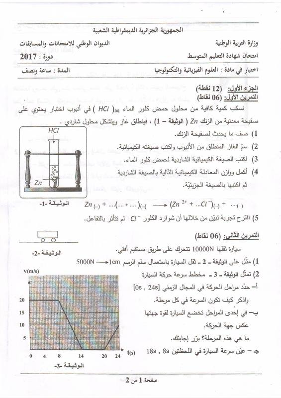 موضوع العلوم الفيزيائية لشهادة التعليم المتوسط 2017