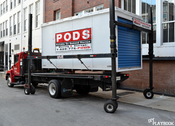 This large truck is used for PODS container drop off.