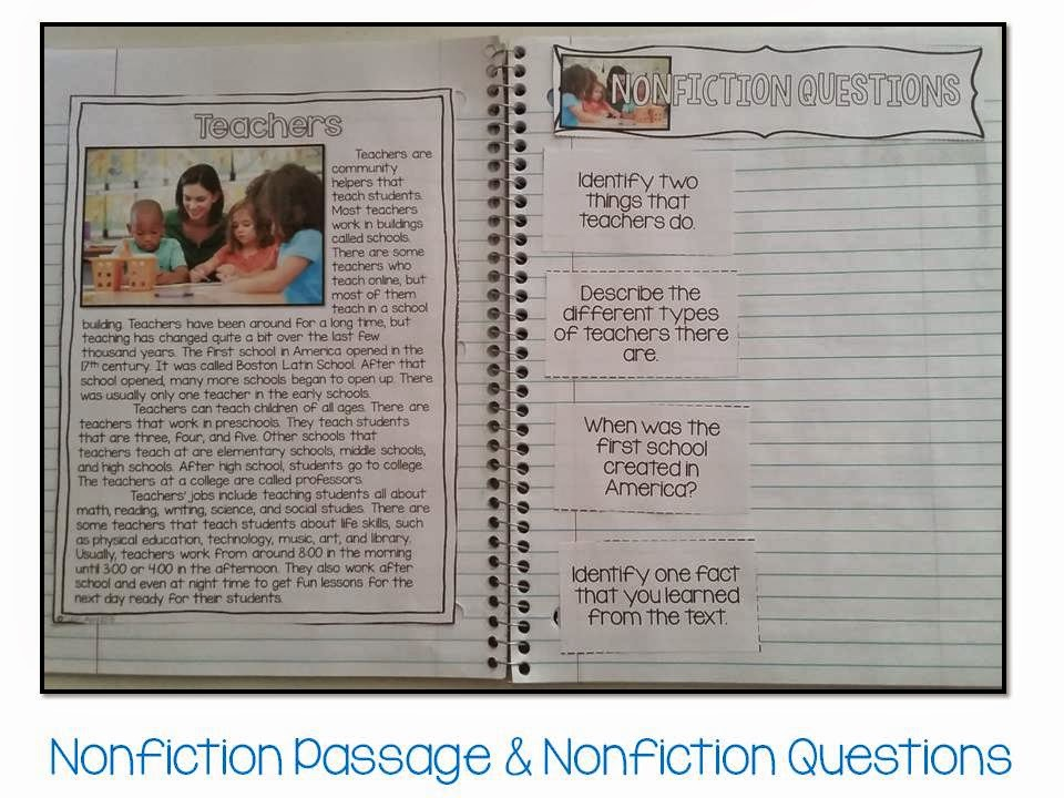 May fiction and nonfiction paired texts- all about teachers (4 other themes)- paired passages interactive notebook