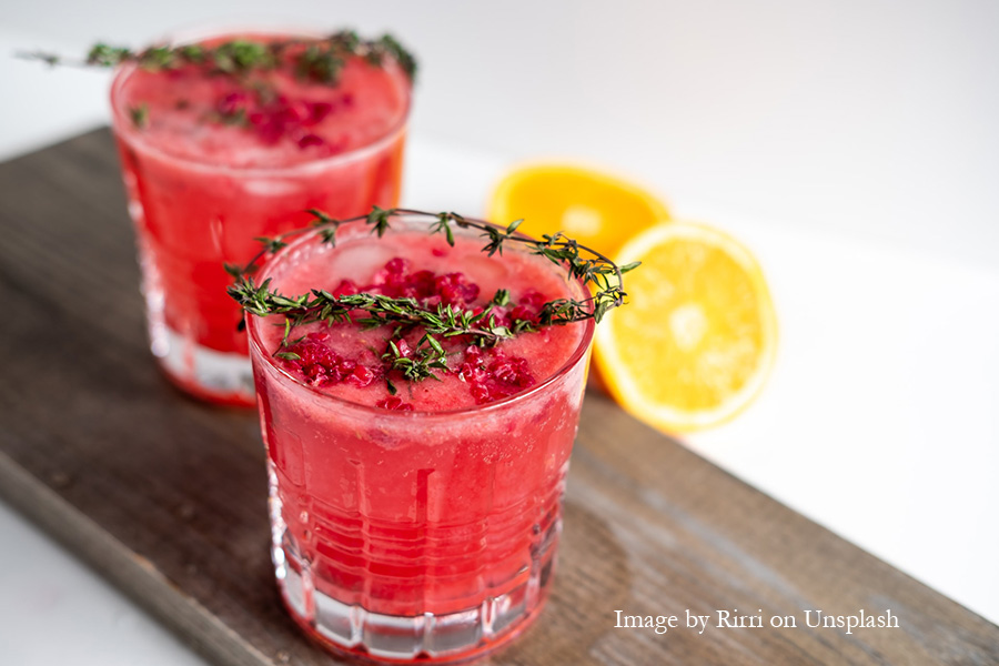 Red juices in glasses