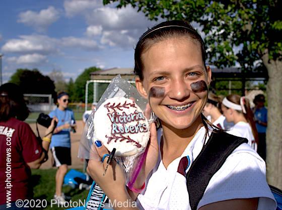 Victoria Roberts celebrates SJO softball win