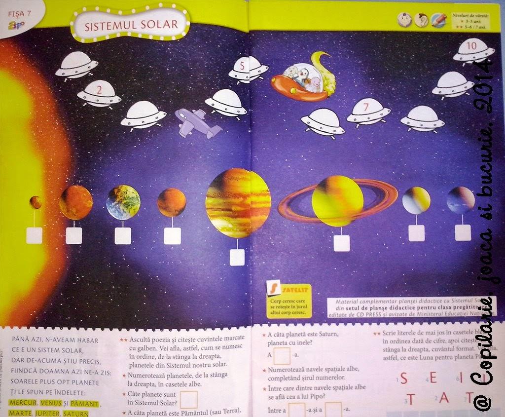 COPILRIE JOAC I BUCURIE Sistemul solar ziua 1