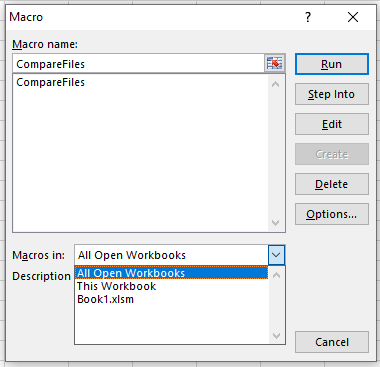 Use dropdown to see macros available in all open workbooks or specific workbook