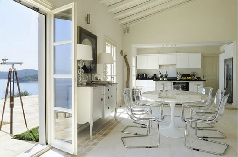 white coastal kitchen and dining room
