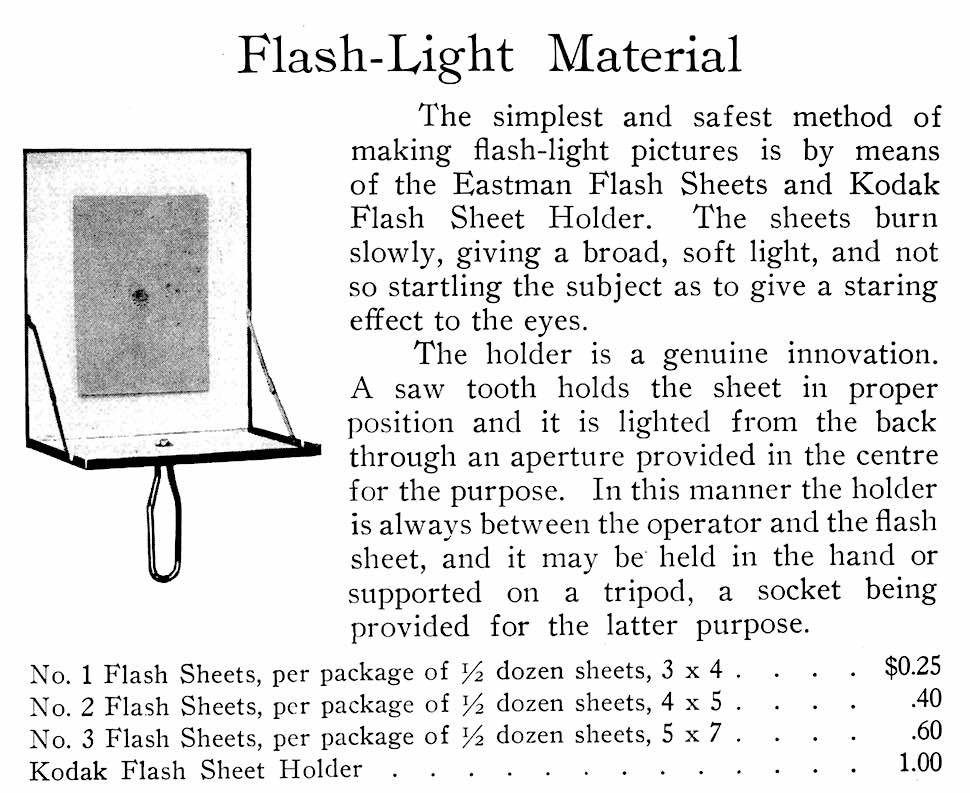 a 1914 photography flash sheet for lighting