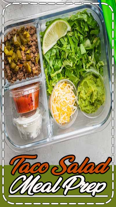 Any day can be taco day with this easy convenient taco salad meal prep idea! I use #ortegataco Mexican food products to make prep easier - from the Taco Seasoning with 40% less sodium, to the smooth and thick Original Taco Sauce and finally to the bold and creamy Flavor Craver Taco Ranch Taco Sauce to bring it all together. Prep it for work/school, and enjoy taco day any day anywhere! #ad #tacosalad #tacotuesday #mealprepideas #foodvideo #recipevideo