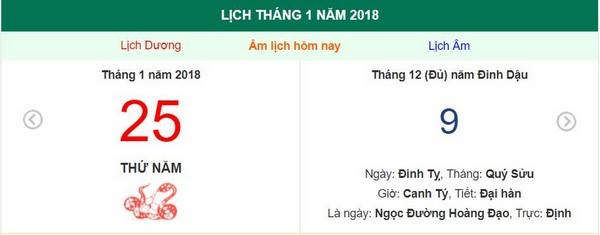 Xem ngày tốt xấu, giờ hoàng đạo - Xem lịch Thứ Năm ngày 25 tháng 1 năm 2018