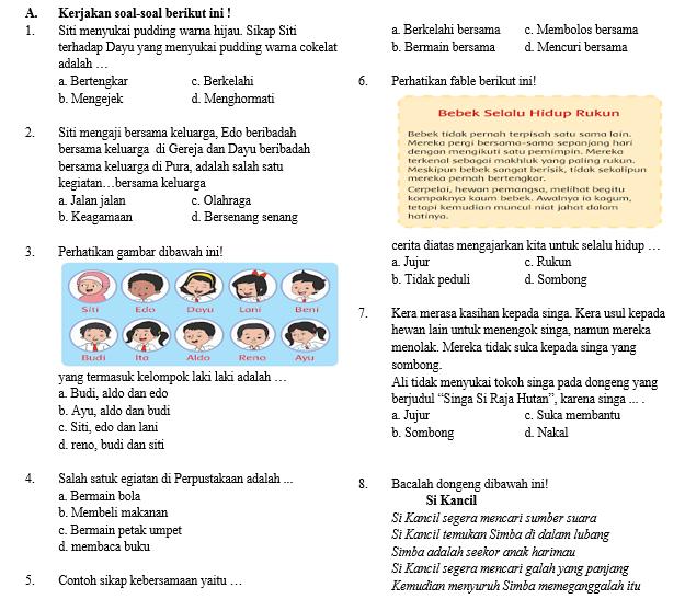 Soal Semester Tema 7 Kelas 2 SD/MI