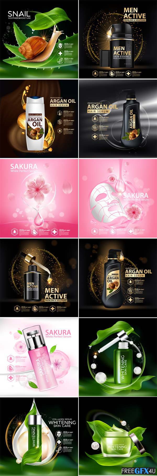 Vector Skin Care Cosmetics Advertising Designs
