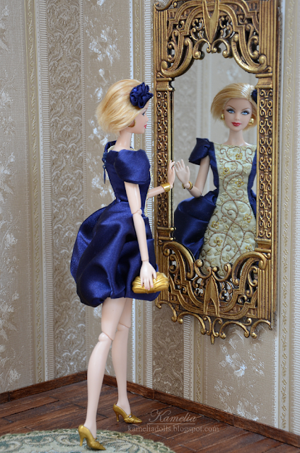 Blue and gold Barbie evening gown with embroidery