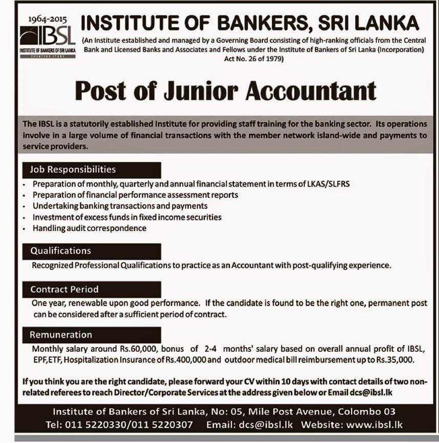 Junior Accountant Sri Lanka Vacancies Top Rated Jobs