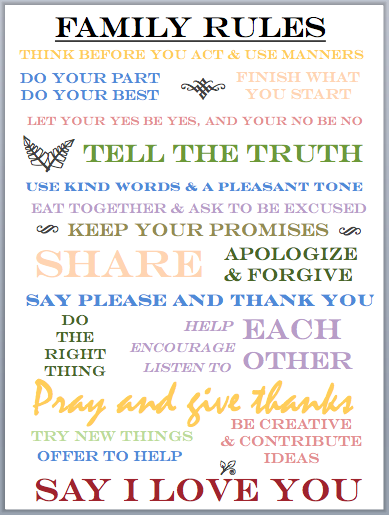 In the meantime mama family rules printable for House rules chart template