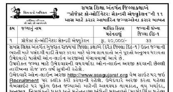 SSA Gujarat Project Co-ordinator Recruitment 2020 @sagujarat.org