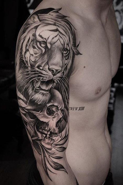 Tiger + Skull Tattoo on Arm