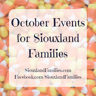 """in background, a pile of candy corn. in foreground, """"October events for Siouxland Families"""""""