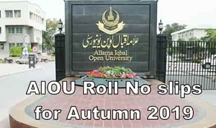 AIOU sends Roll Number slips for ETA 2020 to B.ED, MA, MSC, MBA M.Com Students