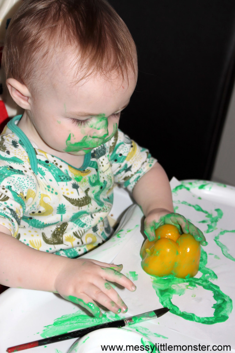 activities for babies - painting with peppers.