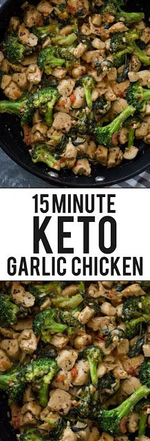 15 Minute Keto Garlic Chicken with Broccoli and Spinach