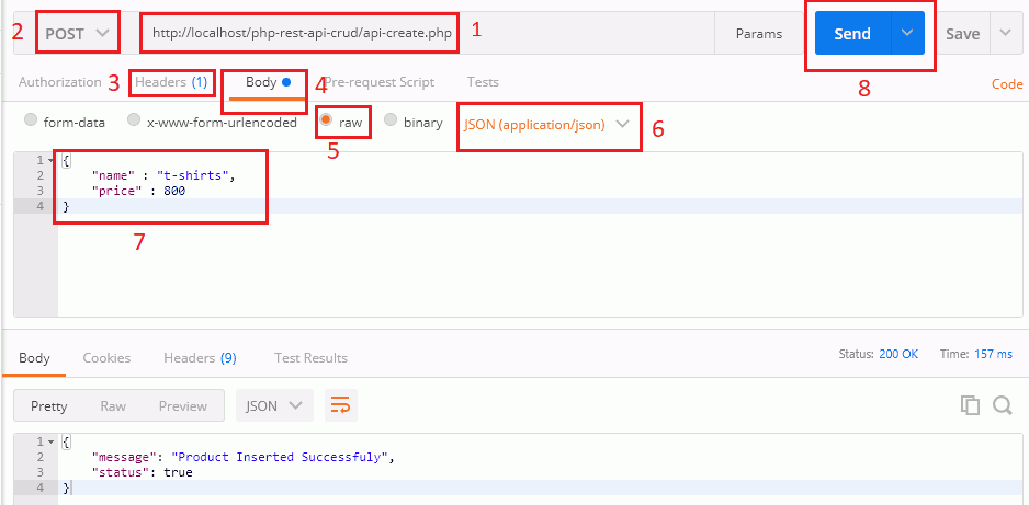 Create New Product Record from Postman Tool | PHP CRUD API Tutorial