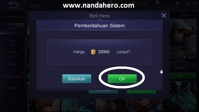 cara beli hero mobile legends gratis