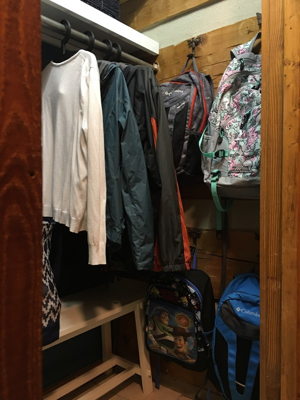 Coat Closet Mudroom Organization Makeover | $100 Room Challenge | Kids backpacks on hooks organization