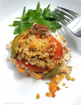 Healthy Baked Chicken with Mushrooms, Tomato and Peppers