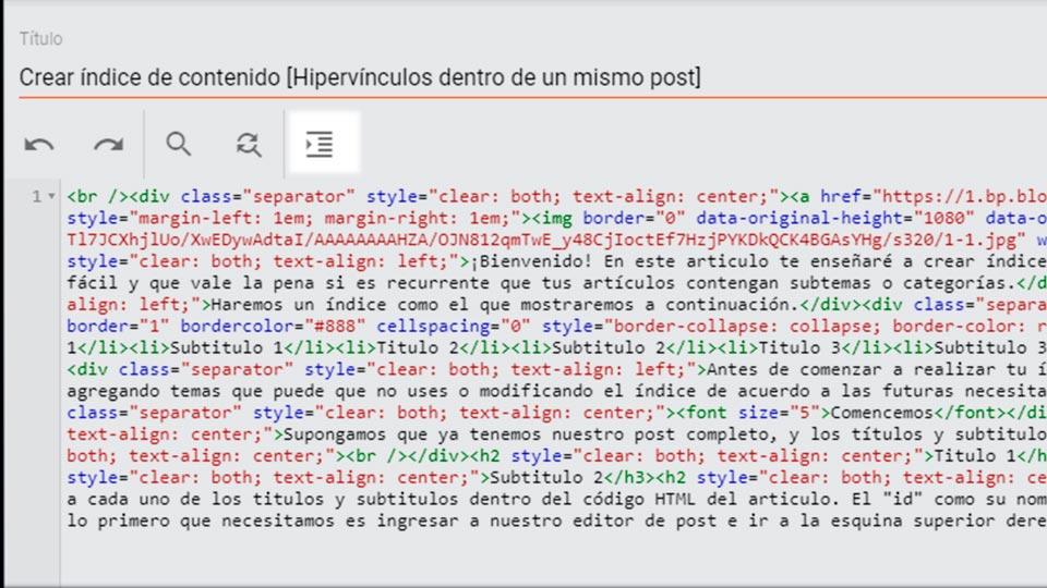 Cómo ordenar la vista HTML en Blogger