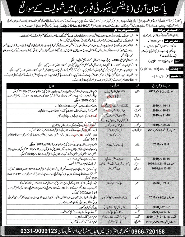 Pakistan Army Defence Security Force Jobs For Soldiers 2019