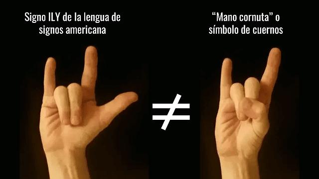 El signo ILY de ASL es diferente del gesto de cuernos de la música heavy