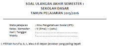 Contoh Soal UAS IPS Kelas V MI/SD Semester 1