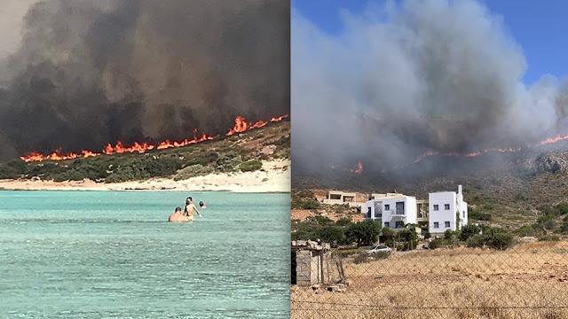 Καίει για δεύτερη μέρα η φωτιά στην Ελαφόνησο