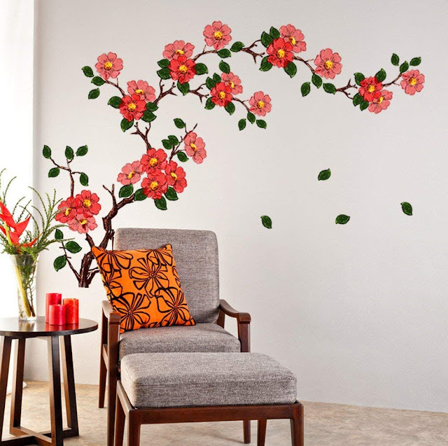 Decals Design 'Floral Branch Antique Flowers' Wall Sticker (PVC Vinyl, 50 cm x 70 cm, Multicolour)
