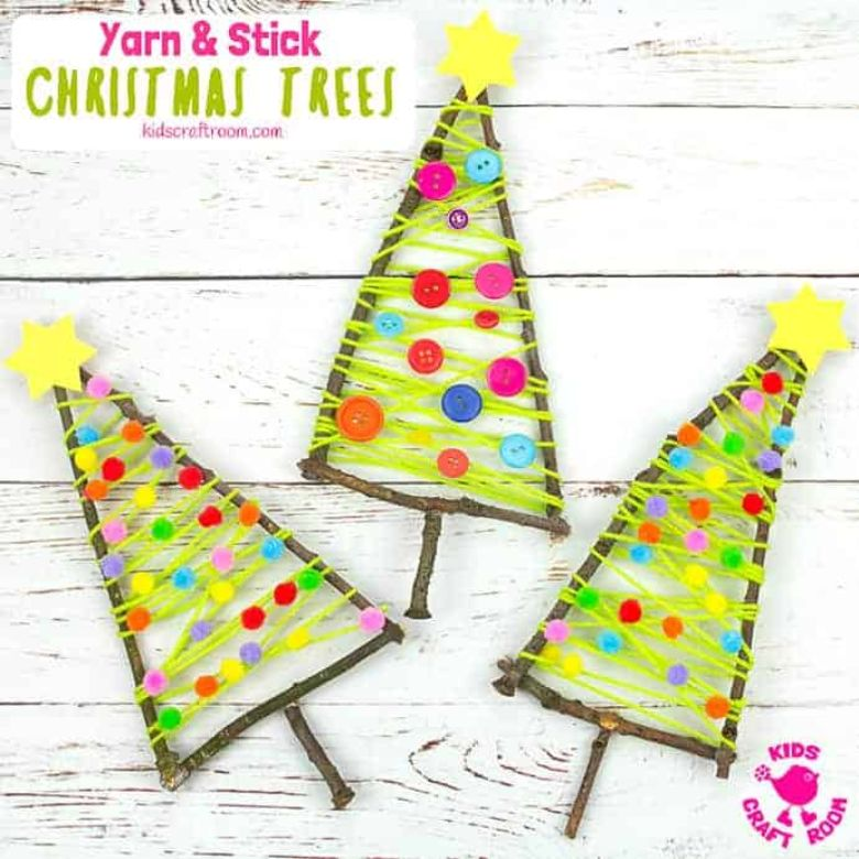 Yarn Christmas tree craft for kids