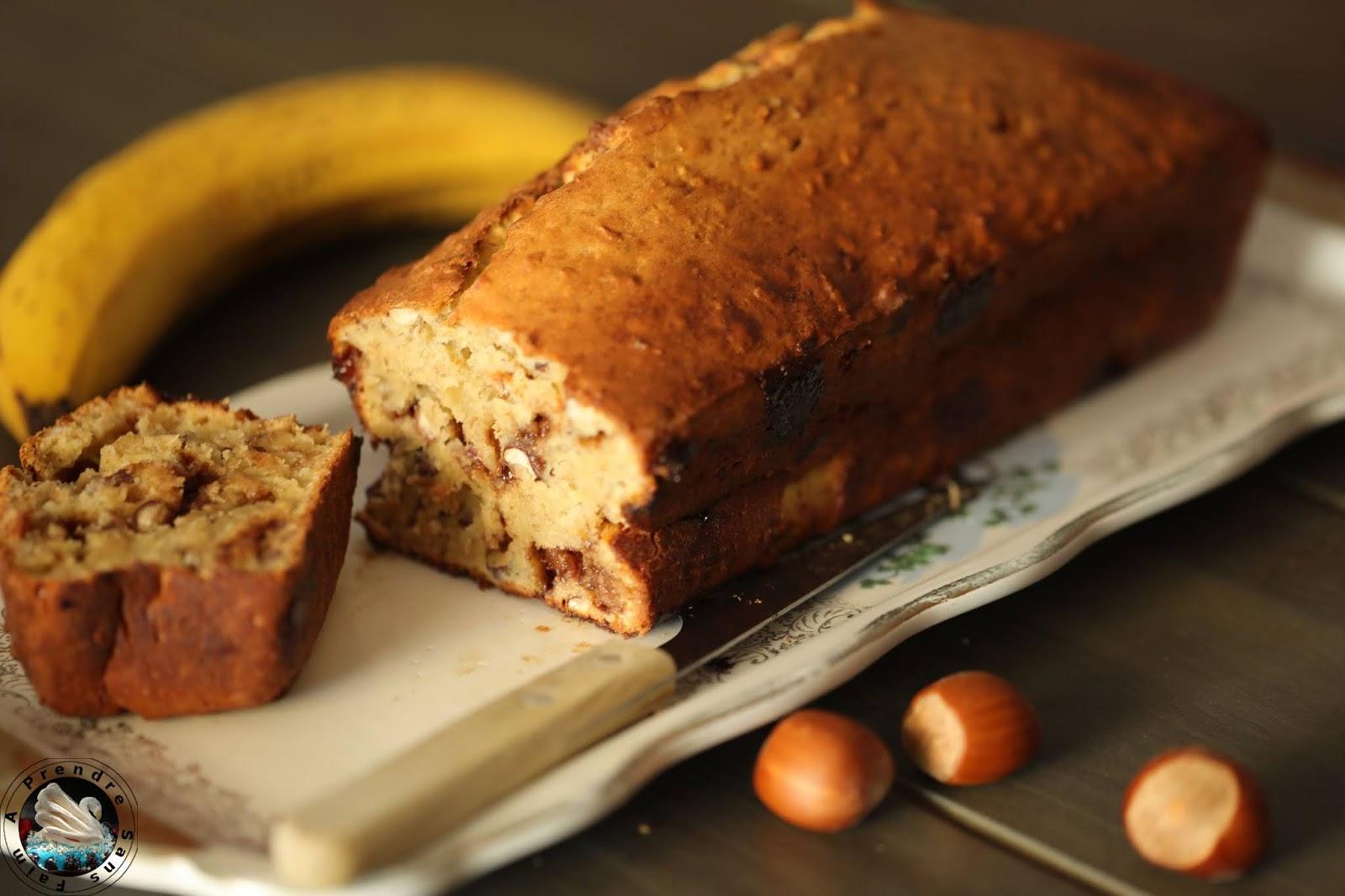 Banana bread choco noisettes aux flocons