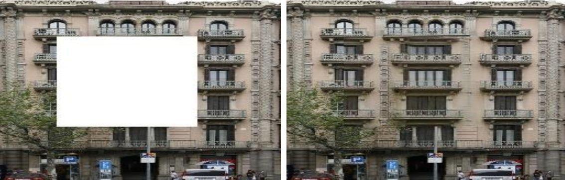 Работа алгоритма PEN-Net по восстановлению фотографии дома