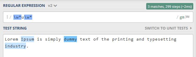 "menyeleksi atau memilih semua kata yang terdiri dari huruf ""u"""