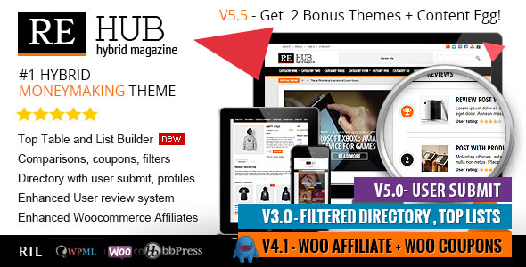 Free Download REHub V5.5 Directory, Shop, Coupon, Affiliate WP Theme