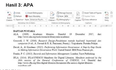Contoh daftar pustaka APA di Mendeley